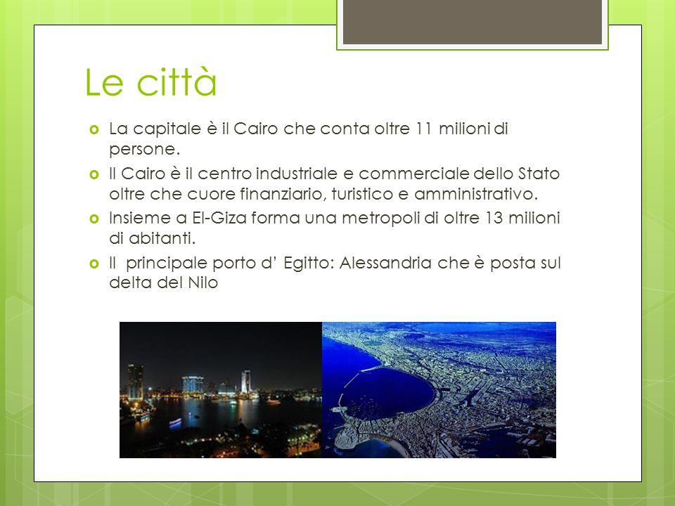 Le città La capitale è il Cairo che conta oltre 11 milioni di persone.