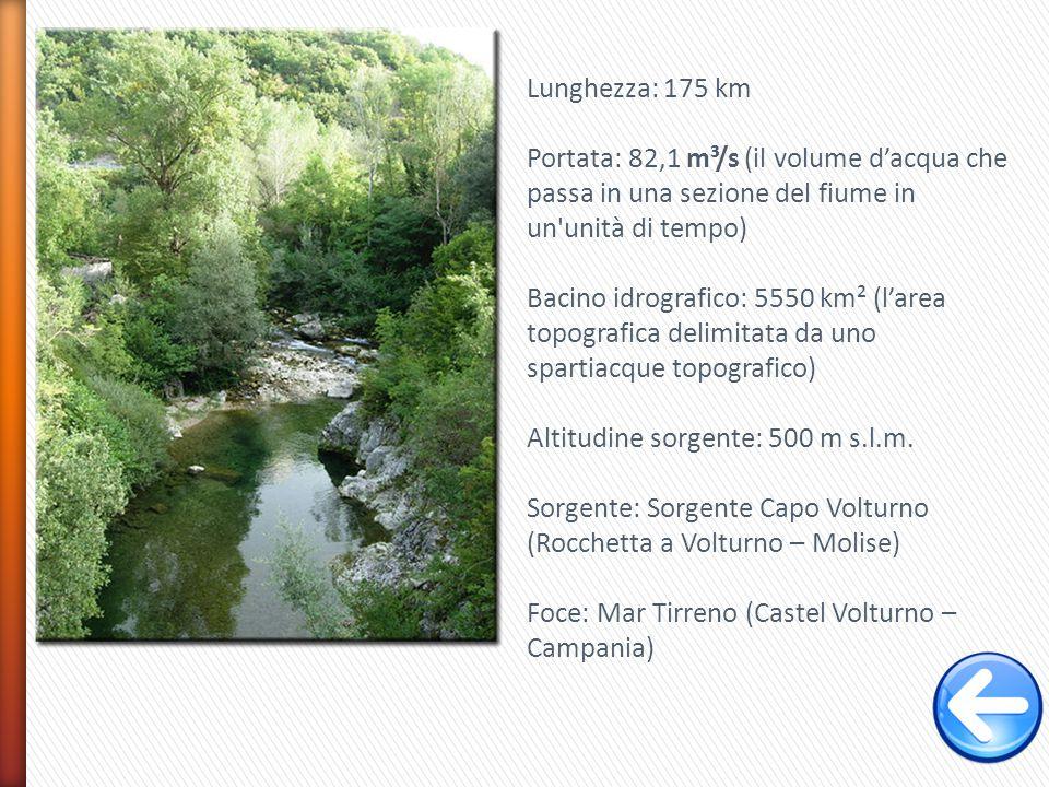 Lunghezza: 175 km Portata: 82,1 m³/s (il volume d'acqua che passa in una sezione del fiume in un unità di tempo)