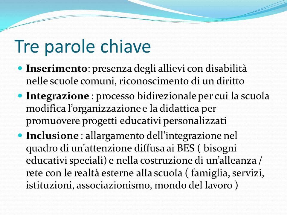 Tre parole chiave Inserimento: presenza degli allievi con disabilità nelle scuole comuni, riconoscimento di un diritto.