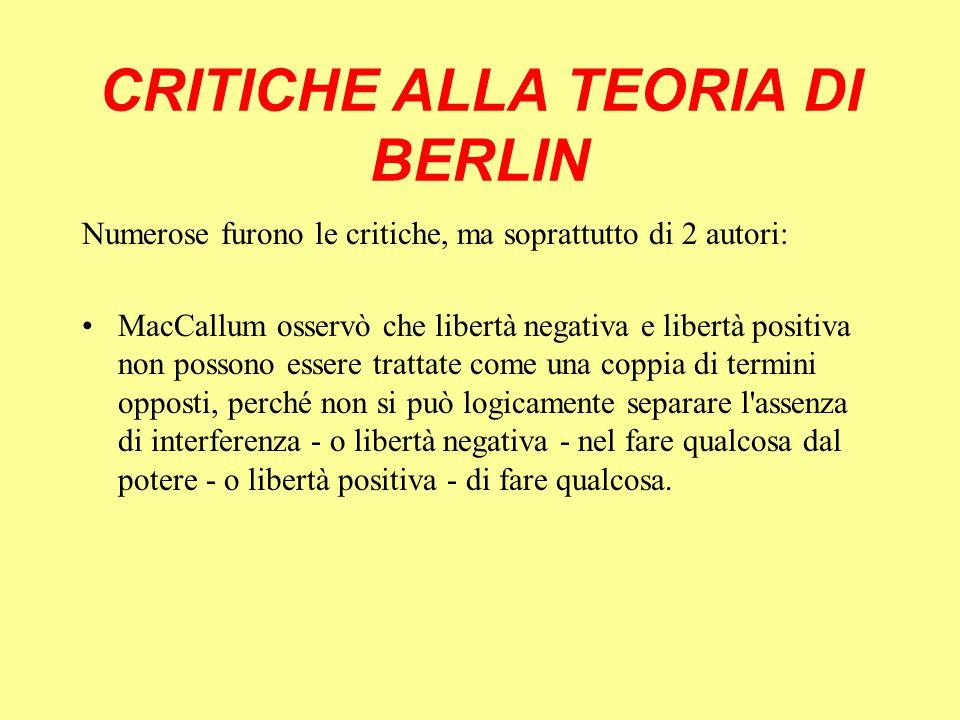 CRITICHE ALLA TEORIA DI BERLIN