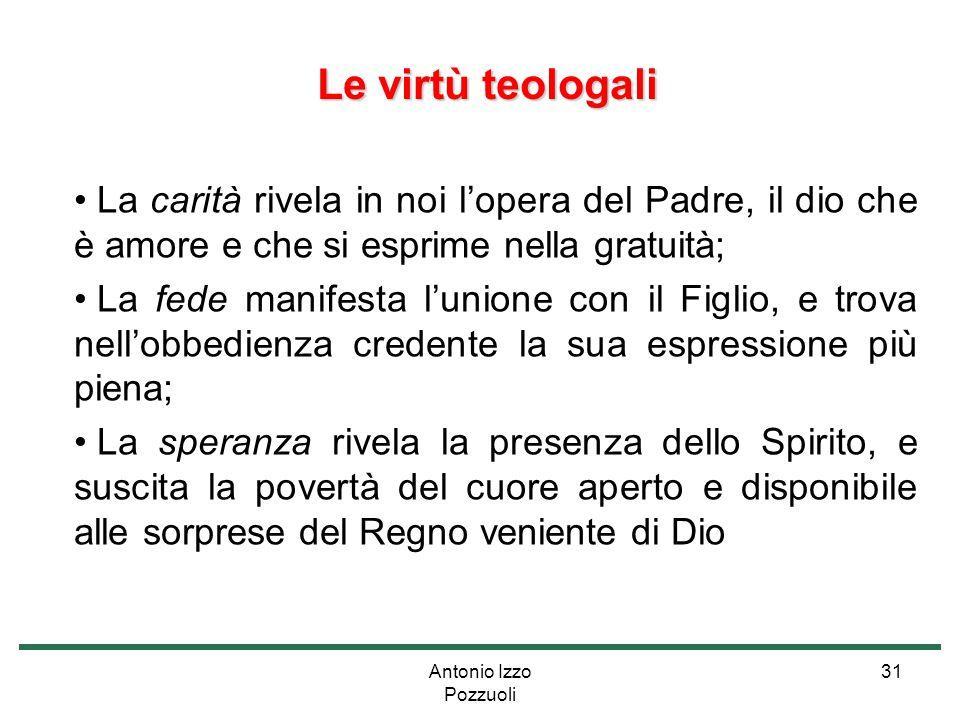 Le virtù teologali La carità rivela in noi l'opera del Padre, il dio che è amore e che si esprime nella gratuità;