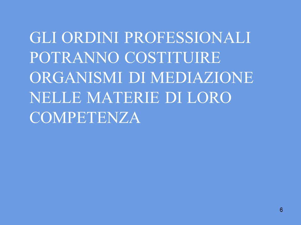 GLI ORDINI PROFESSIONALI POTRANNO COSTITUIRE ORGANISMI DI MEDIAZIONE NELLE MATERIE DI LORO COMPETENZA