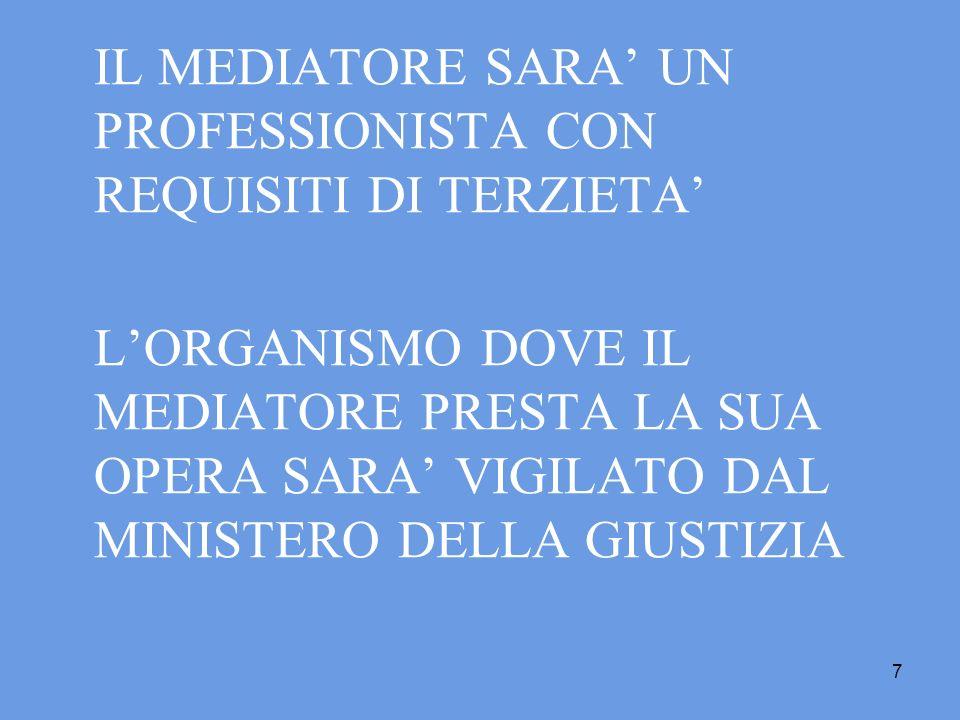 IL MEDIATORE SARA' UN PROFESSIONISTA CON REQUISITI DI TERZIETA'