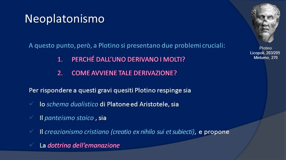 Neoplatonismo A questo punto, però, a Plotino si presentano due problemi cruciali: PERCHÉ DALL'UNO DERIVANO I MOLTI