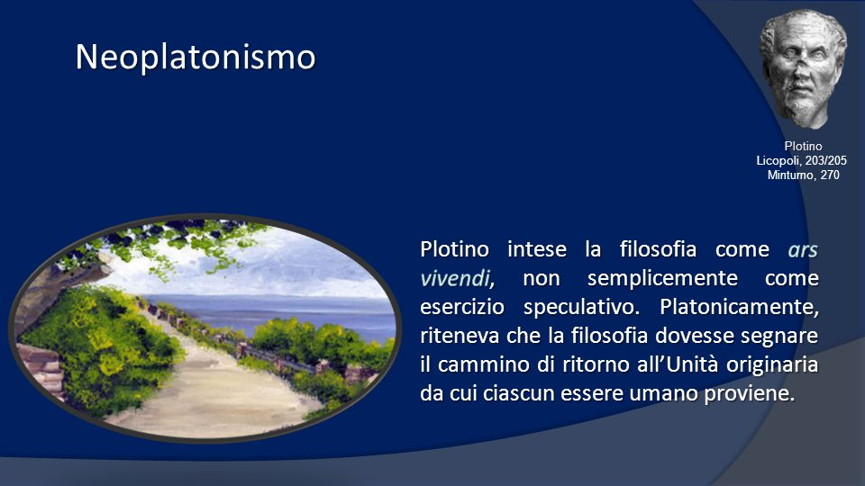 Neoplatonismo Plotino. Licopoli, 203/205. Minturno, 270.