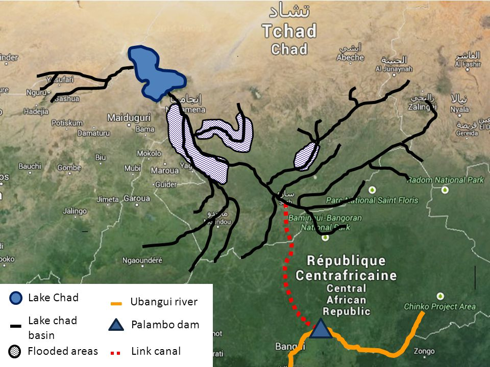 Lake Chad Ubangui river Lake chad basin Palambo dam Flooded areas Link canal