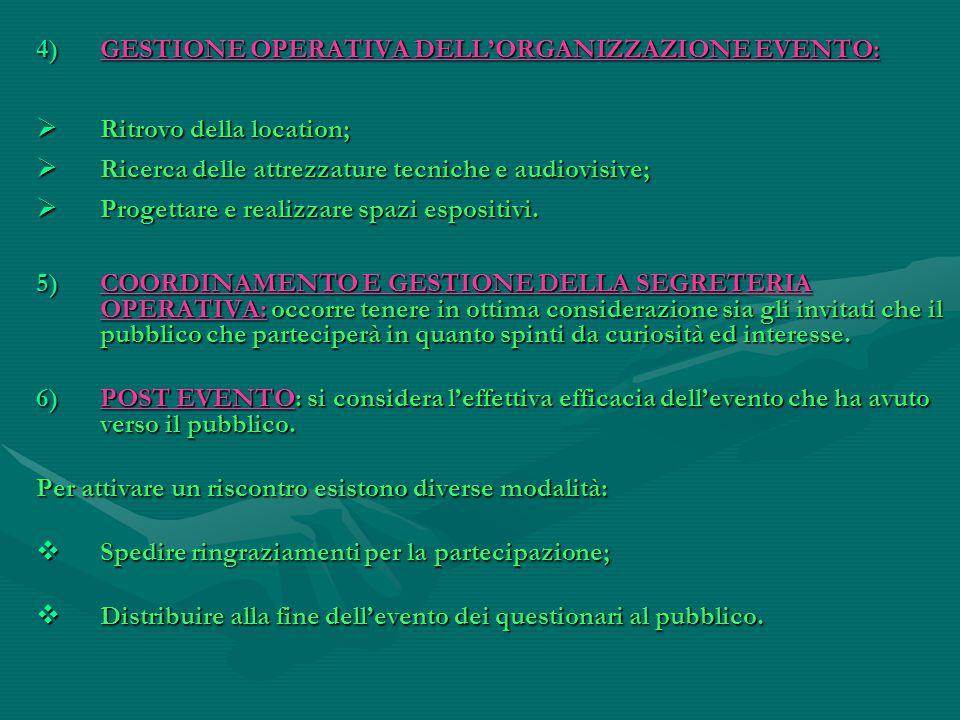 GESTIONE OPERATIVA DELL'ORGANIZZAZIONE EVENTO: