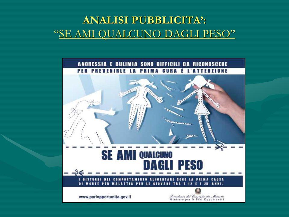 ANALISI PUBBLICITA': SE AMI QUALCUNO DAGLI PESO