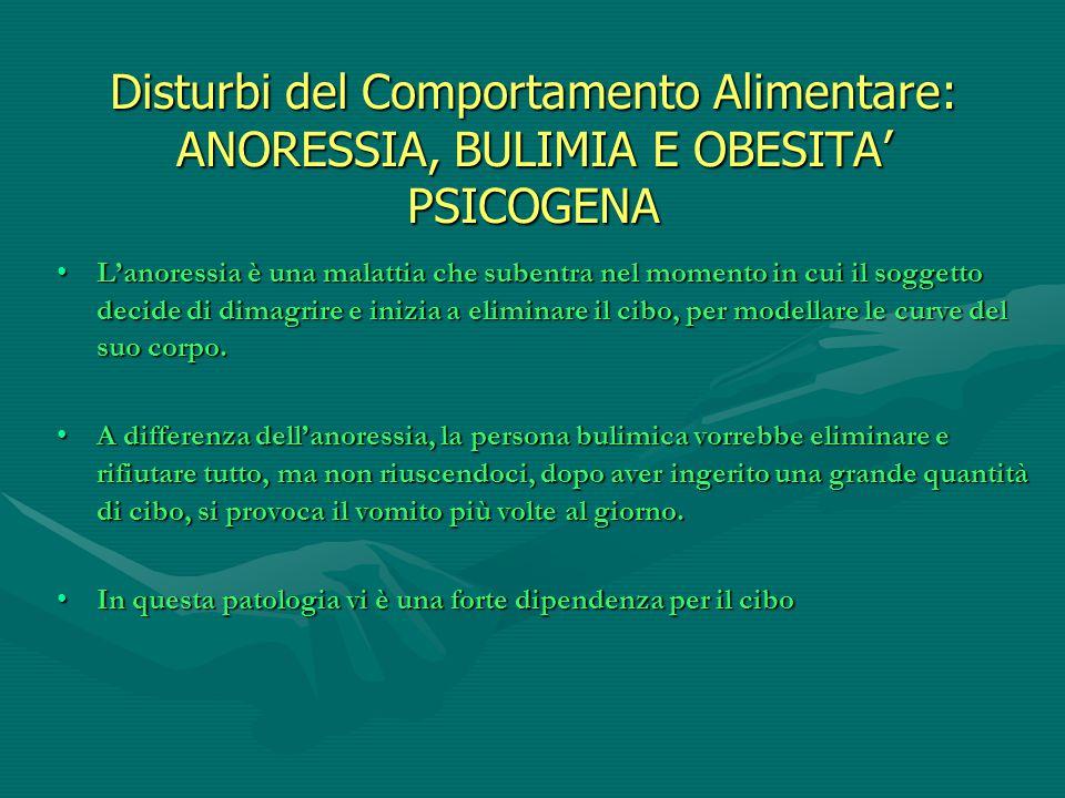 Disturbi del Comportamento Alimentare: ANORESSIA, BULIMIA E OBESITA' PSICOGENA