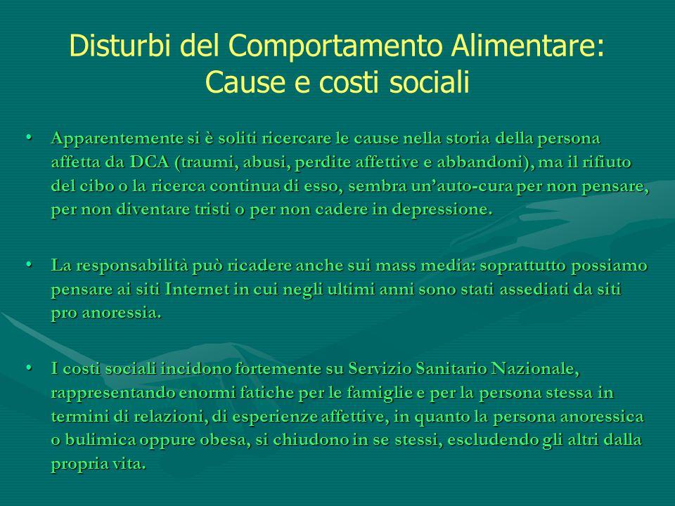 Disturbi del Comportamento Alimentare: Cause e costi sociali