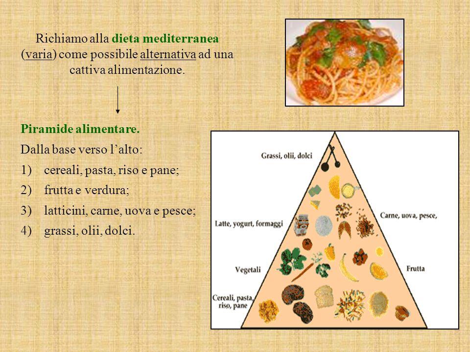 Richiamo alla dieta mediterranea (varia) come possibile alternativa ad una cattiva alimentazione.
