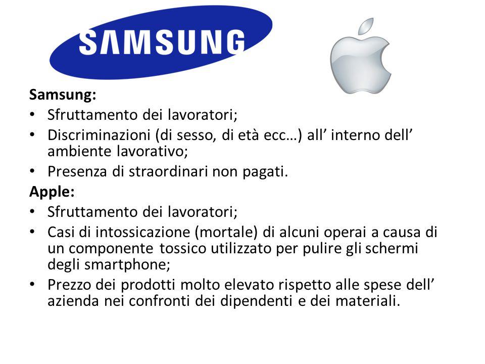 Samsung: Sfruttamento dei lavoratori; Discriminazioni (di sesso, di età ecc…) all' interno dell' ambiente lavorativo;