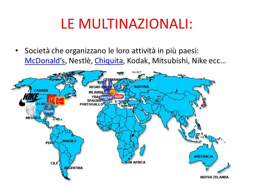 LE MULTINAZIONALI: Società che organizzano le loro attività in più paesi: McDonald's, Nestlè, Chiquita, Kodak, Mitsubishi, Nike ecc…