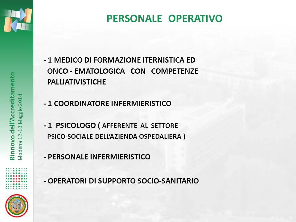 PERSONALE OPERATIVO - 1 MEDICO DI FORMAZIONE ITERNISTICA ED