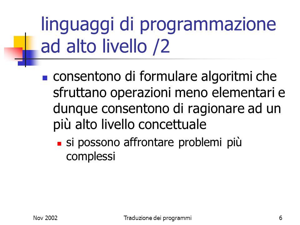 linguaggi di programmazione ad alto livello /2