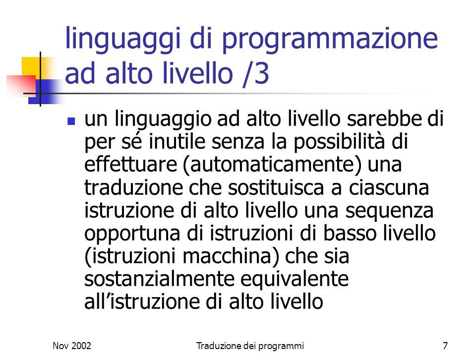 linguaggi di programmazione ad alto livello /3