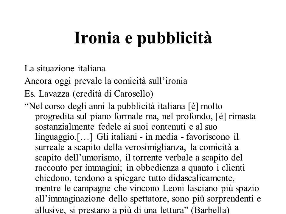 Ironia e pubblicità La situazione italiana