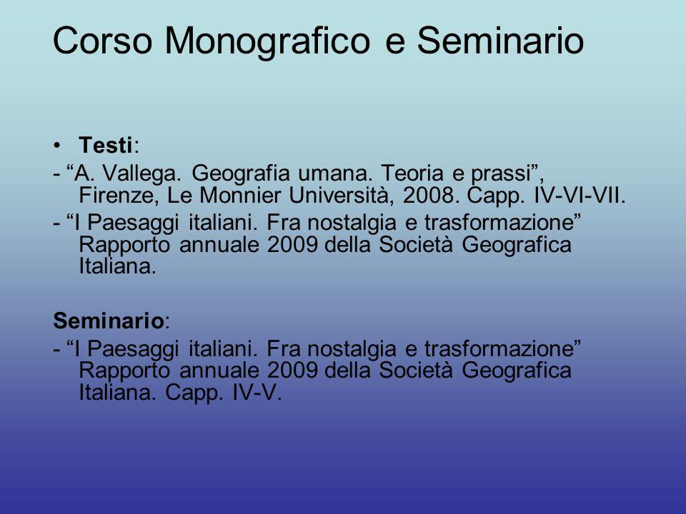 Corso Monografico e Seminario
