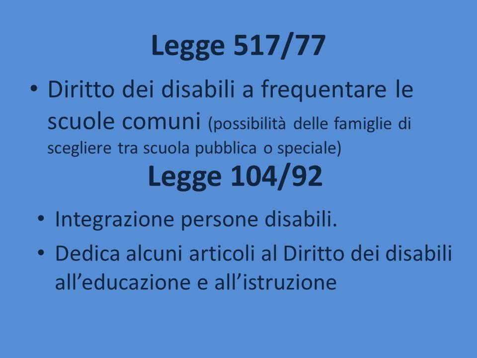 Legge 517/77 Diritto dei disabili a frequentare le scuole comuni (possibilità delle famiglie di scegliere tra scuola pubblica o speciale)