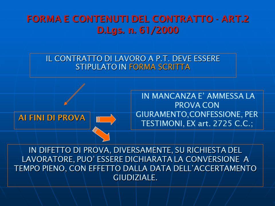 FORMA E CONTENUTI DEL CONTRATTO - ART.2 D.Lgs. n. 61/2000