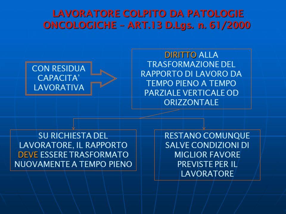 LAVORATORE COLPITO DA PATOLOGIE ONCOLOGICHE – ART.13 D.Lgs. n. 61/2000