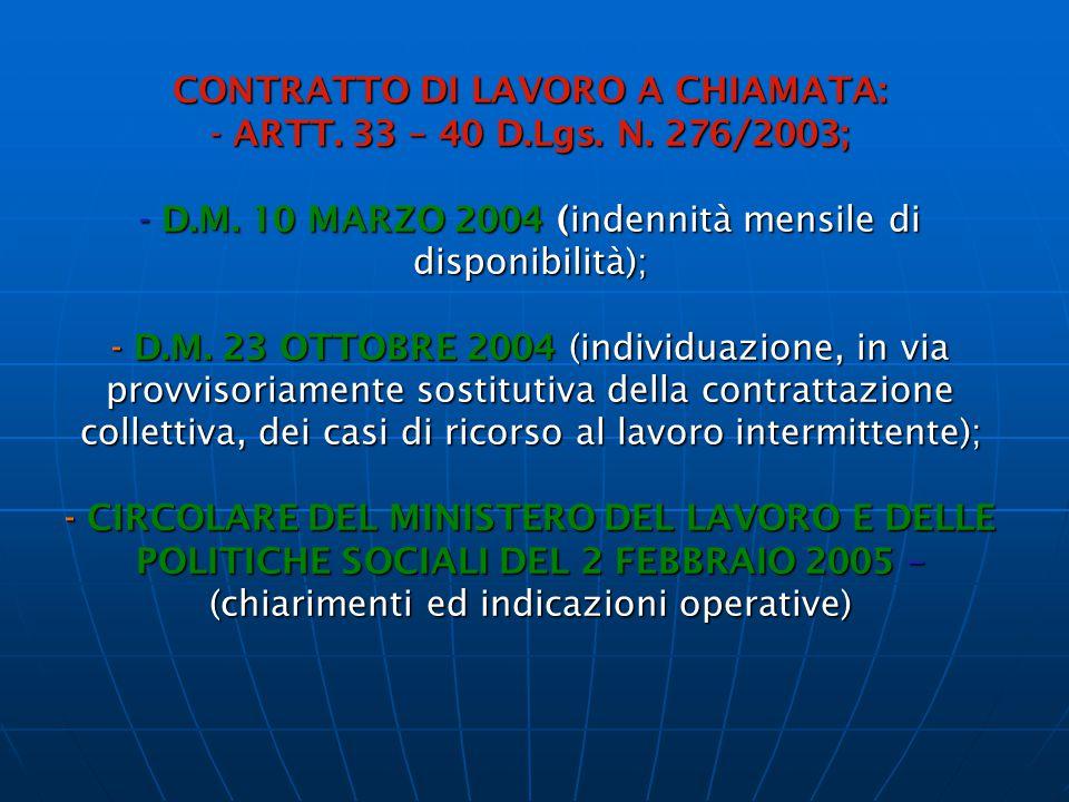CONTRATTO DI LAVORO A CHIAMATA: - ARTT. 33 – 40 D. Lgs. N