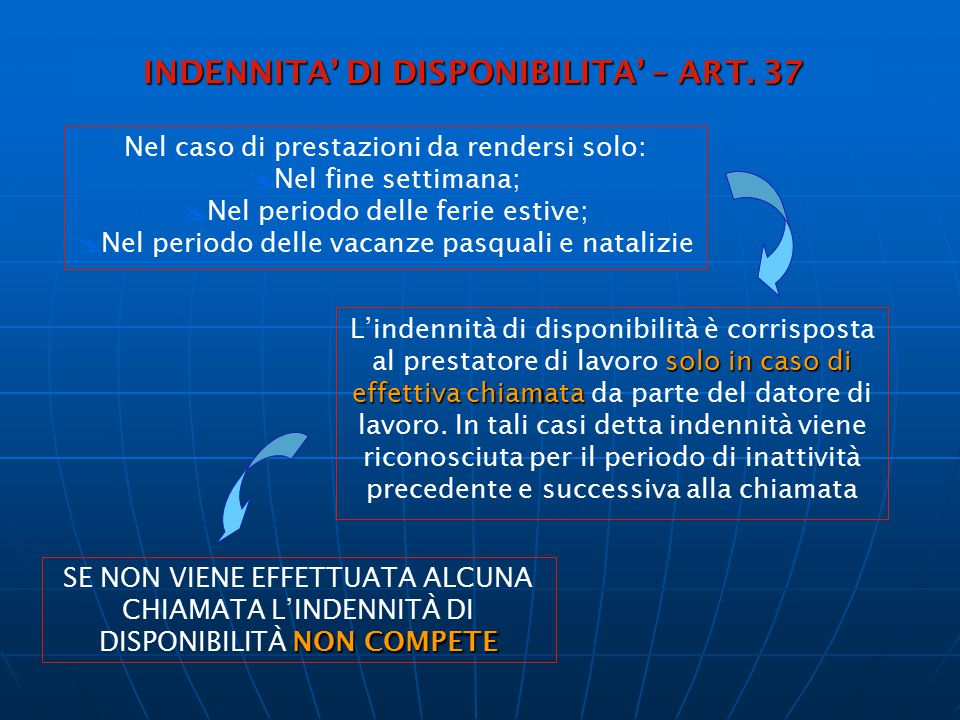 INDENNITA' DI DISPONIBILITA' – ART. 37