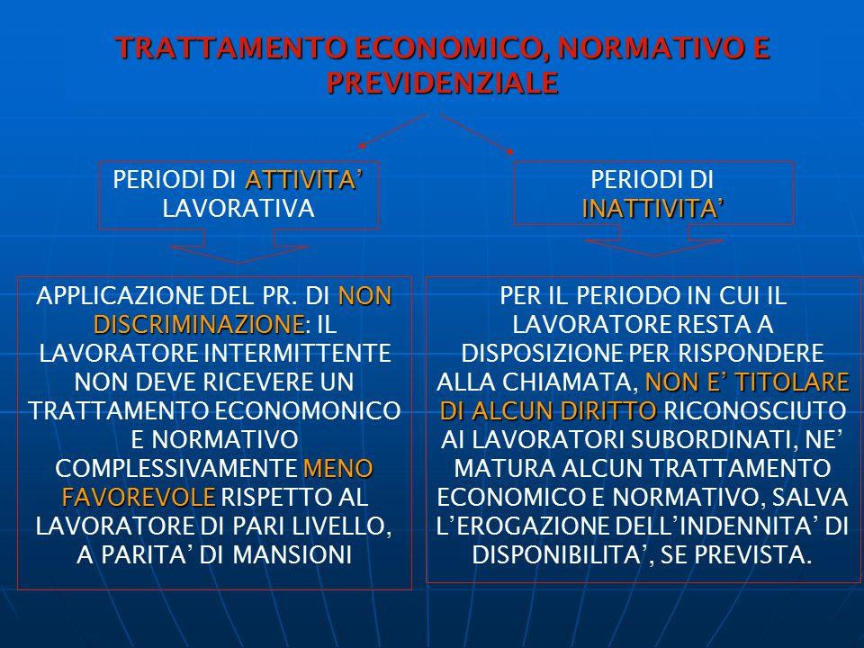TRATTAMENTO ECONOMICO, NORMATIVO E PREVIDENZIALE