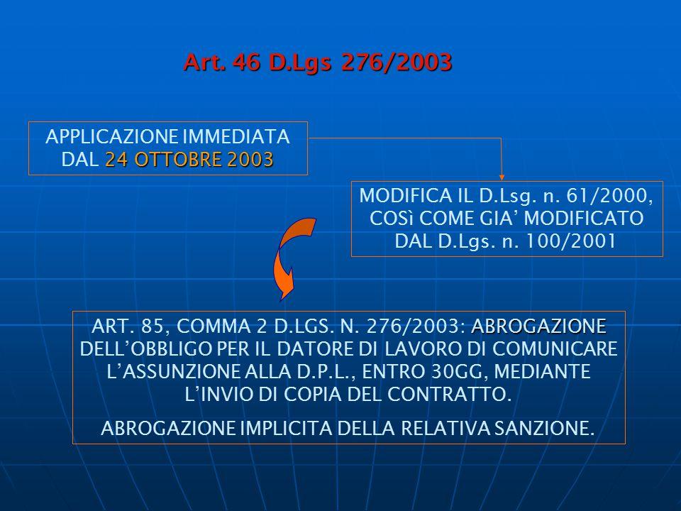 Art. 46 D.Lgs 276/2003 APPLICAZIONE IMMEDIATA DAL 24 OTTOBRE 2003