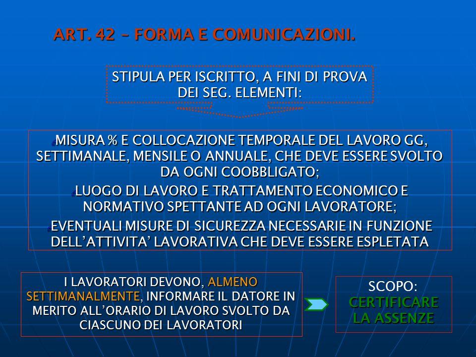 ART. 42 – FORMA E COMUNICAZIONI.