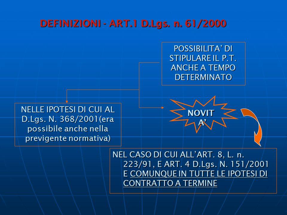 DEFINIZIONI - ART.1 D.Lgs. n. 61/2000