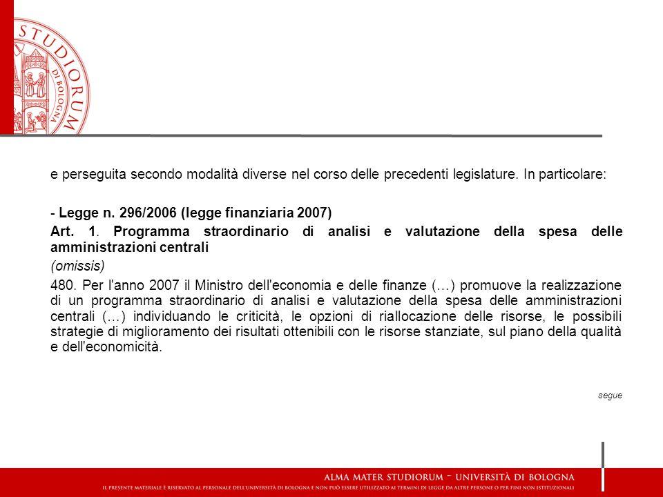 - Legge n. 296/2006 (legge finanziaria 2007)