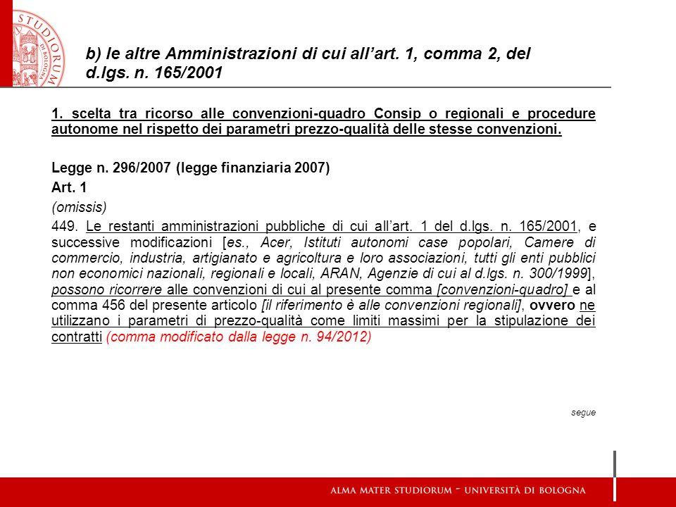 b) le altre Amministrazioni di cui all'art. 1, comma 2, del d. lgs. n
