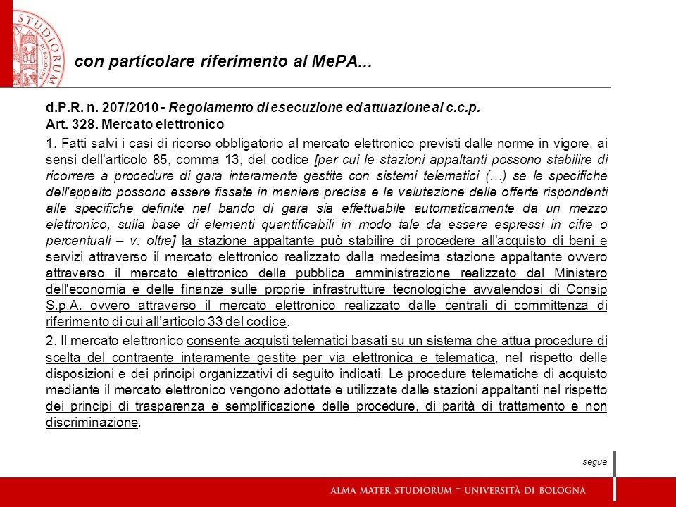 con particolare riferimento al MePA...