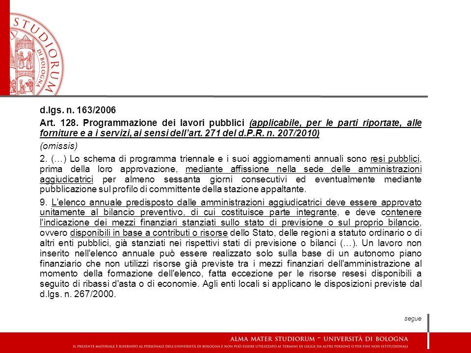 d.lgs. n. 163/2006