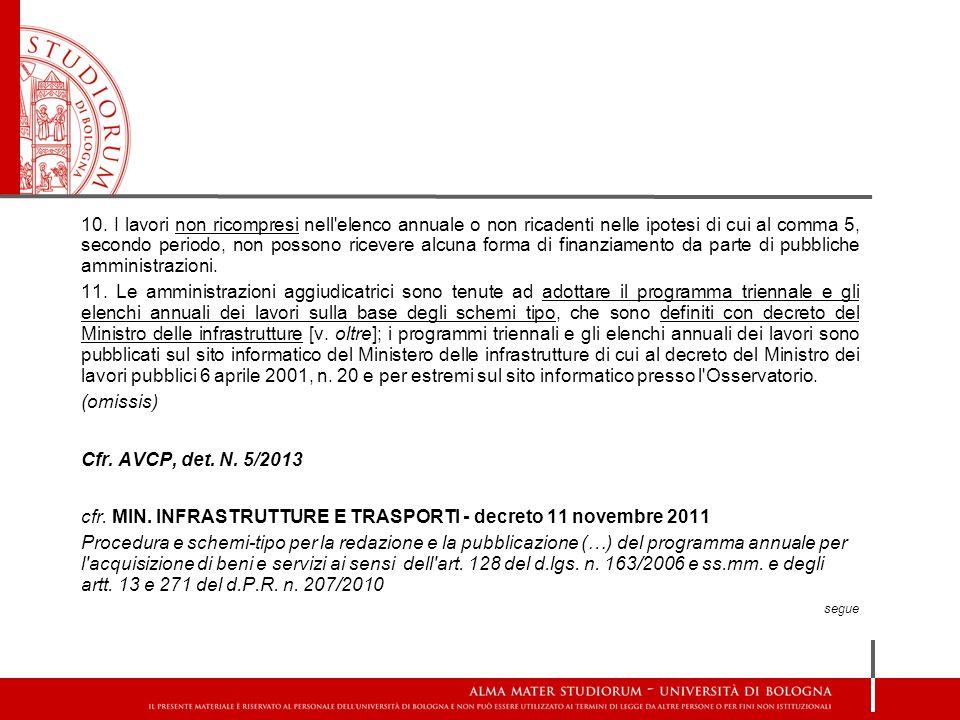 cfr. MIN. INFRASTRUTTURE E TRASPORTI - decreto 11 novembre 2011