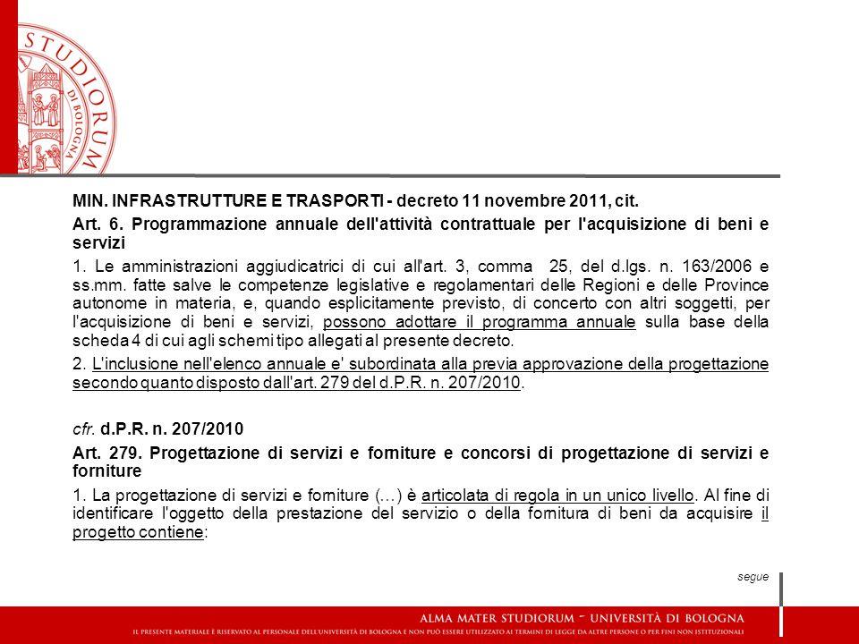 MIN. INFRASTRUTTURE E TRASPORTI - decreto 11 novembre 2011, cit.