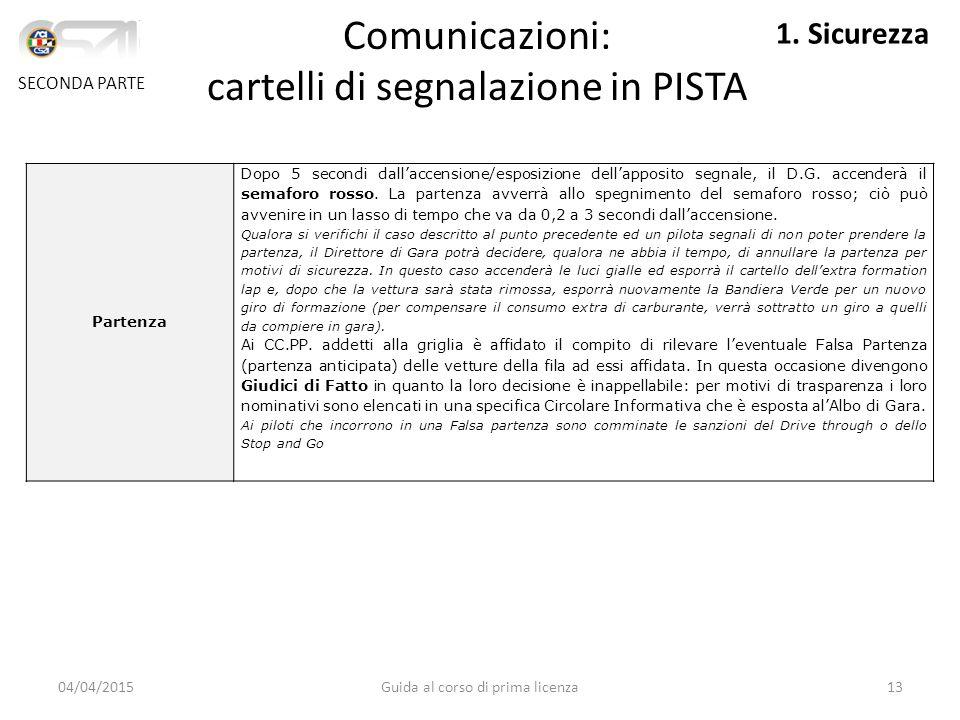 Comunicazioni: cartelli di segnalazione in PISTA
