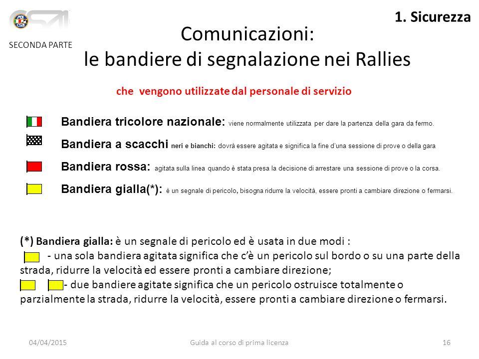 Comunicazioni: le bandiere di segnalazione nei Rallies