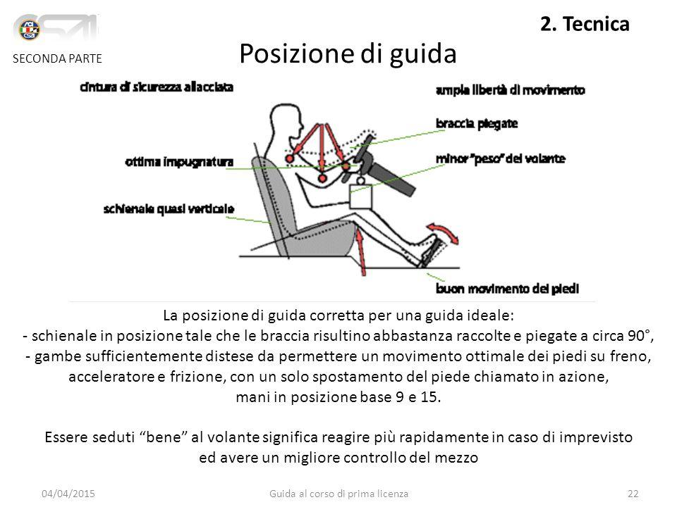 Posizione di guida SECONDA PARTE 2. Tecnica