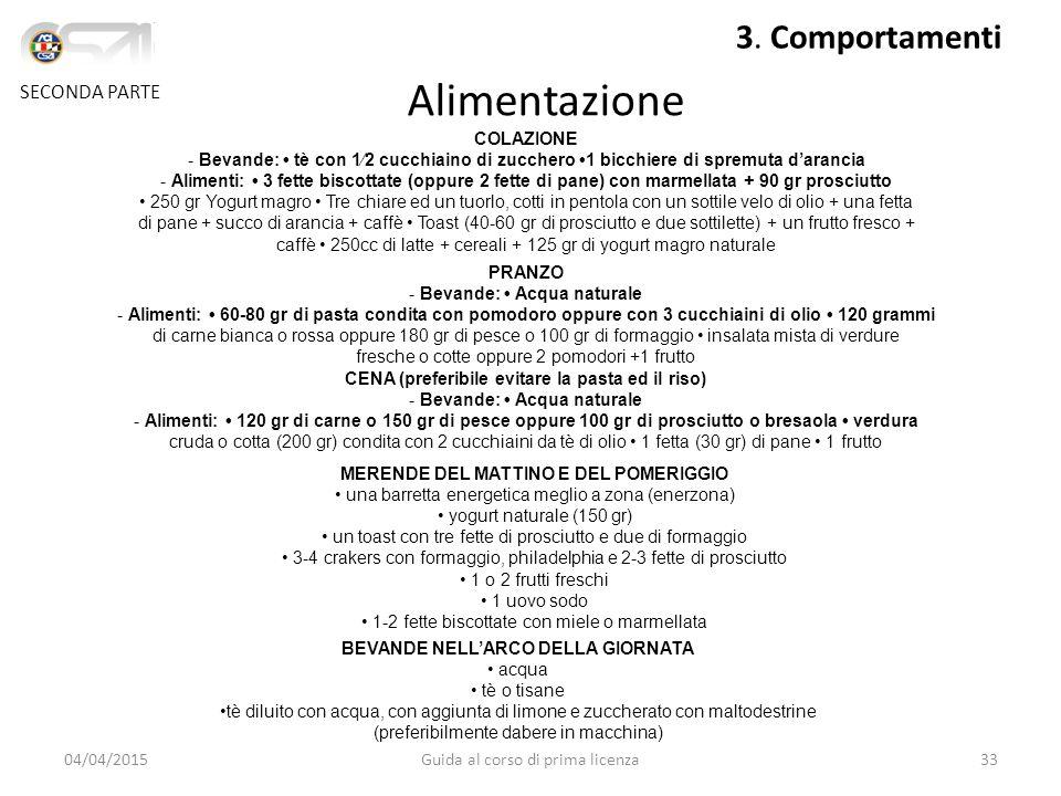 Alimentazione SECONDA PARTE 3. Comportamenti COLAZIONE