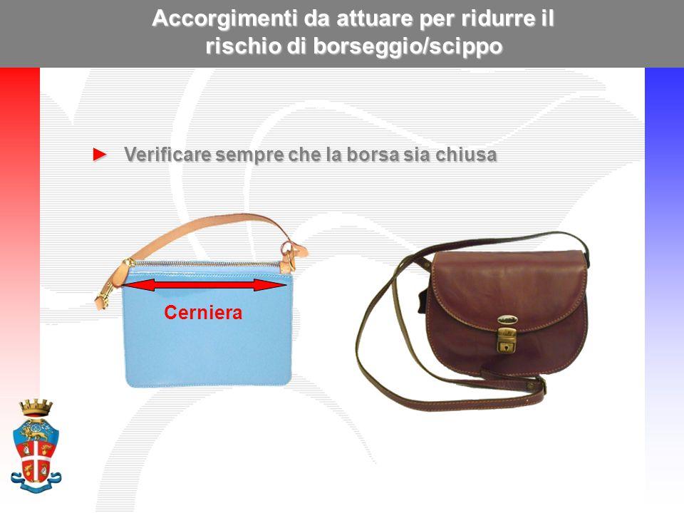 Accorgimenti da attuare per ridurre il rischio di borseggio/scippo