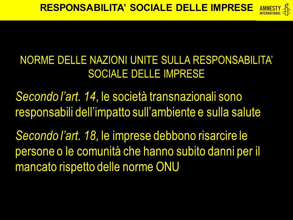 RESPONSABILITA' SOCIALE DELLE IMPRESE
