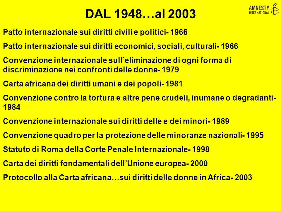 DAL 1948…al 2003 Patto internazionale sui diritti civili e politici- 1966. Patto internazionale sui diritti economici, sociali, culturali- 1966.