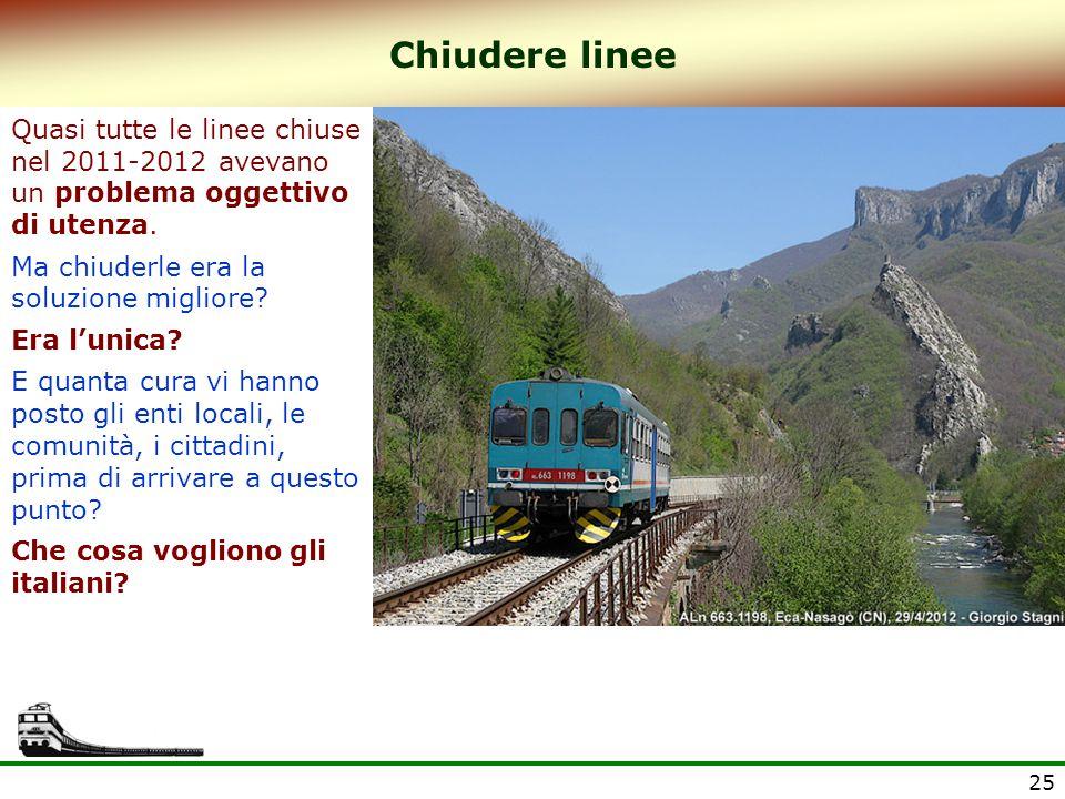 Chiudere linee Quasi tutte le linee chiuse nel 2011-2012 avevano un problema oggettivo di utenza.