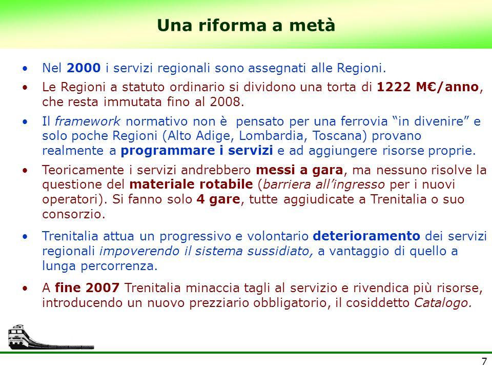 Una riforma a metà Nel 2000 i servizi regionali sono assegnati alle Regioni.