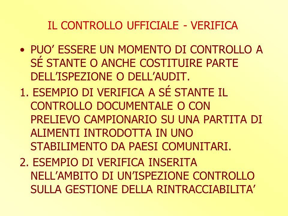 IL CONTROLLO UFFICIALE - VERIFICA