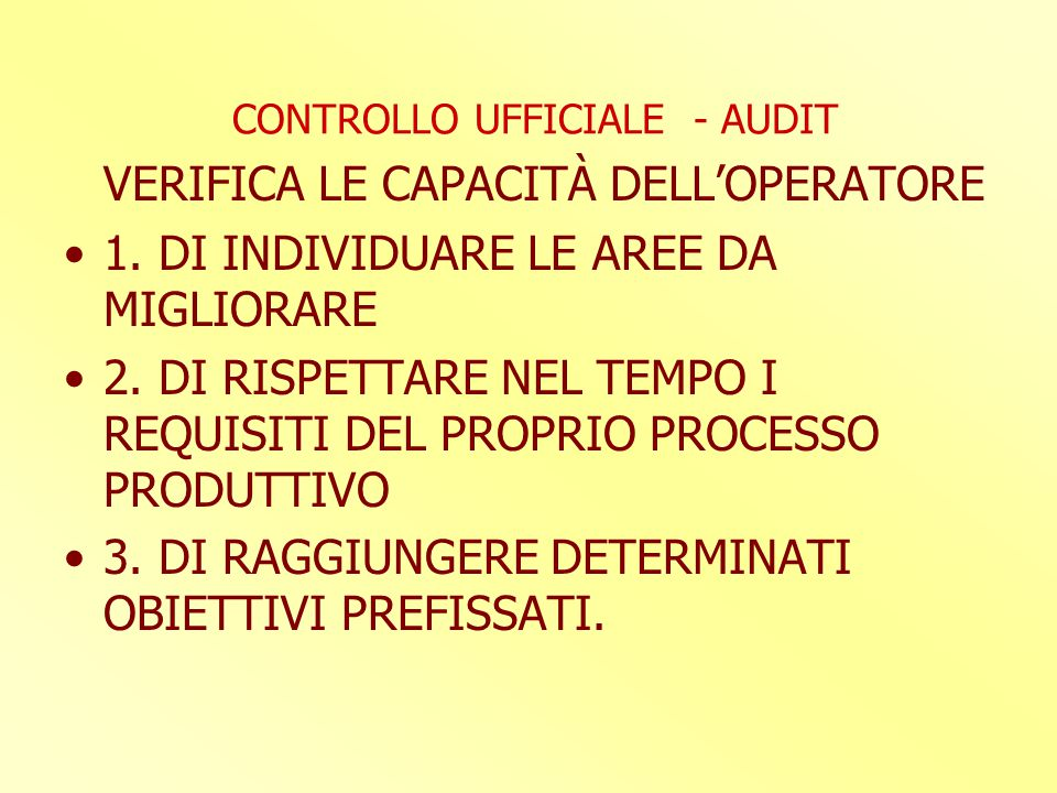 CONTROLLO UFFICIALE - AUDIT