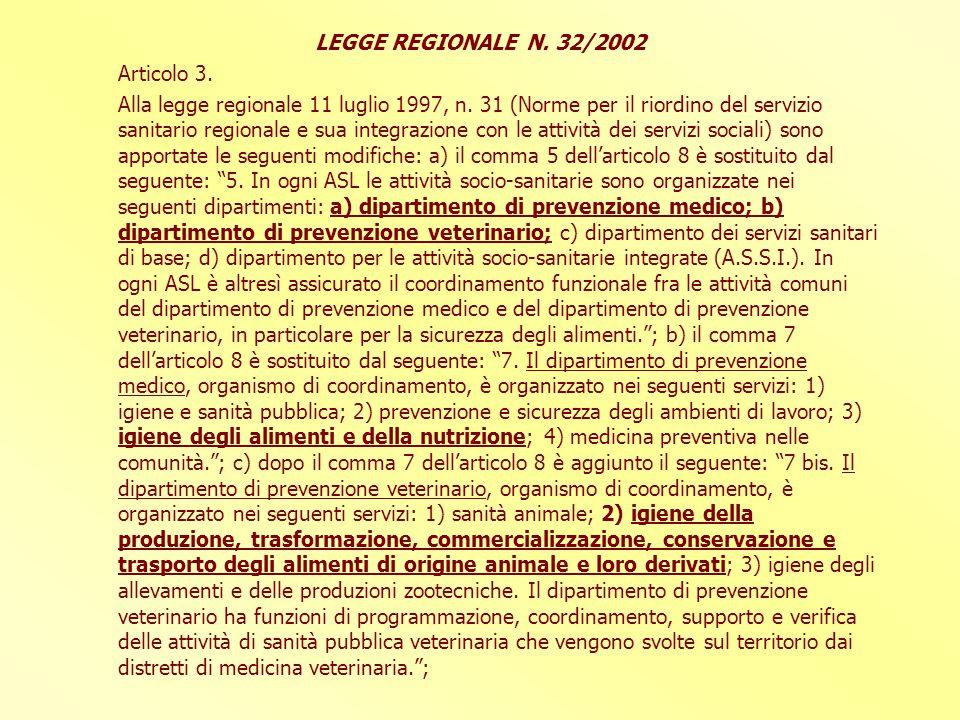 LEGGE REGIONALE N. 32/2002 Articolo 3.