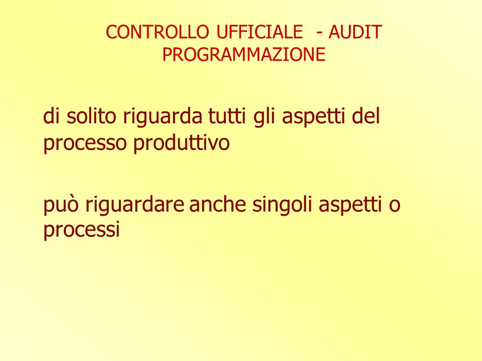 CONTROLLO UFFICIALE - AUDIT PROGRAMMAZIONE